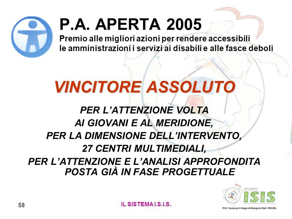P.A. APERTA 2005 Premio alle migliori azioni per rendere accessibili le amministrazioni i servizi ai disabili e alle fasce deboli