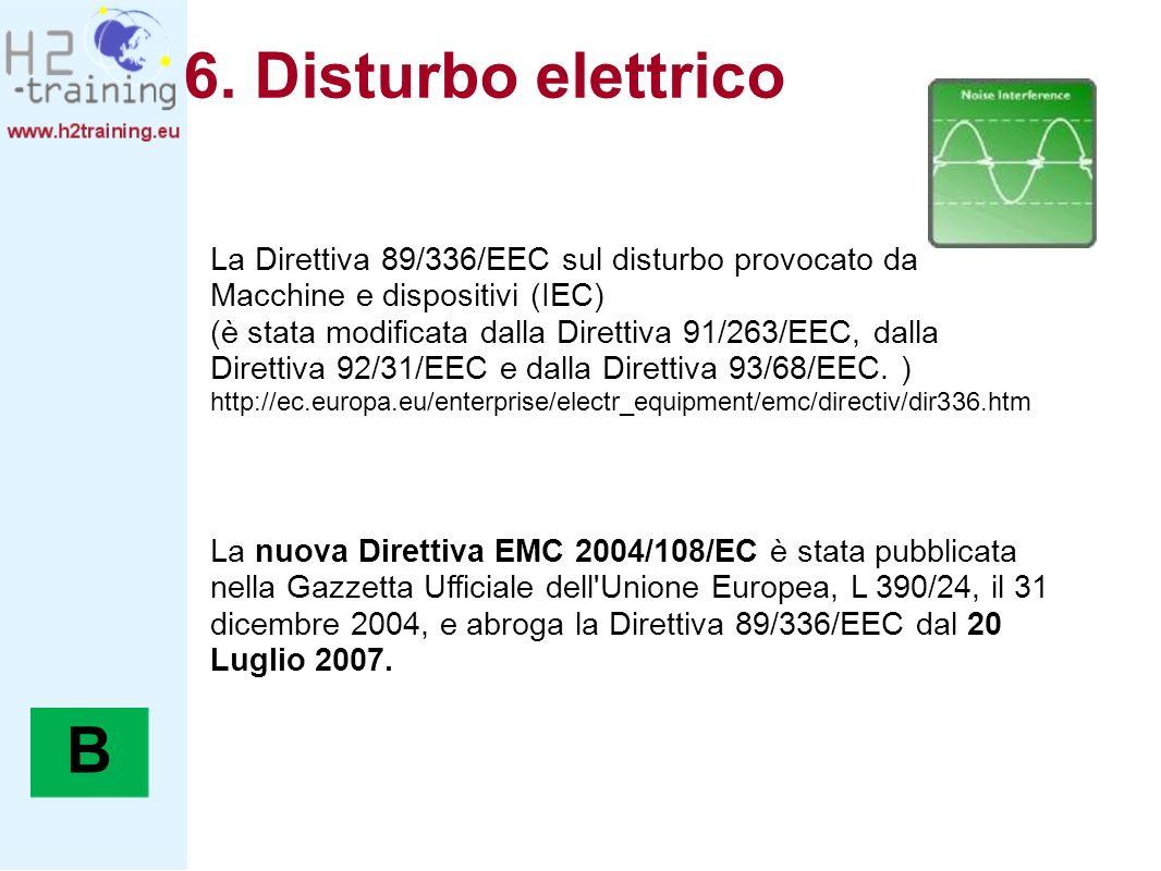 6. Disturbo elettrico La Direttiva 89/336/EEC sul disturbo provocato da Macchine e dispositivi (IEC)