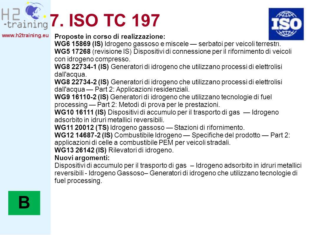 7. ISO TC 197 B Proposte in corso di realizzazione: