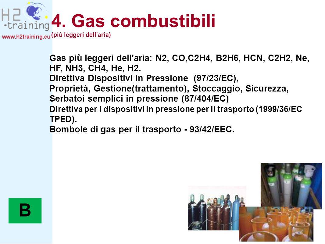 4. Gas combustibili (più leggeri dell aria) Gas più leggeri dell aria: N2, CO,C2H4, B2H6, HCN, C2H2, Ne, HF, NH3, CH4, He, H2.