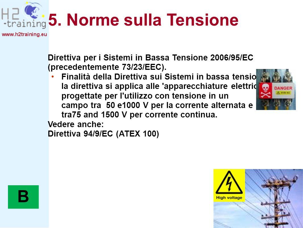 5. Norme sulla Tensione Direttiva per i Sistemi in Bassa Tensione 2006/95/EC (precedentemente 73/23/EEC).