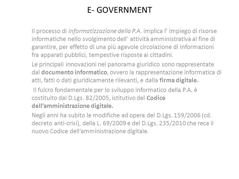 E- GOVERNMENT