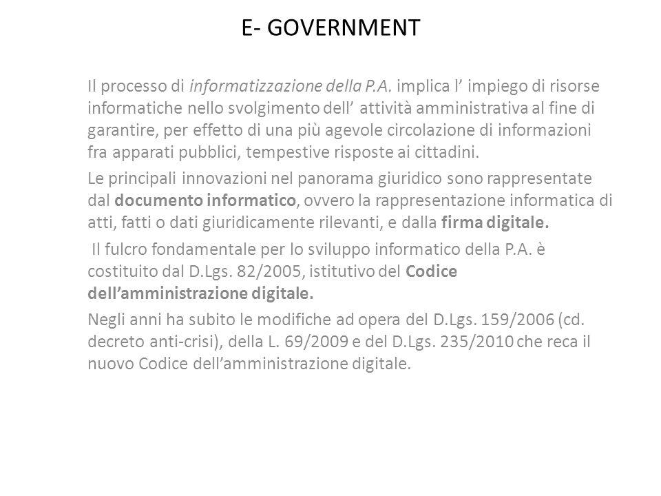E- GOVERNMENT