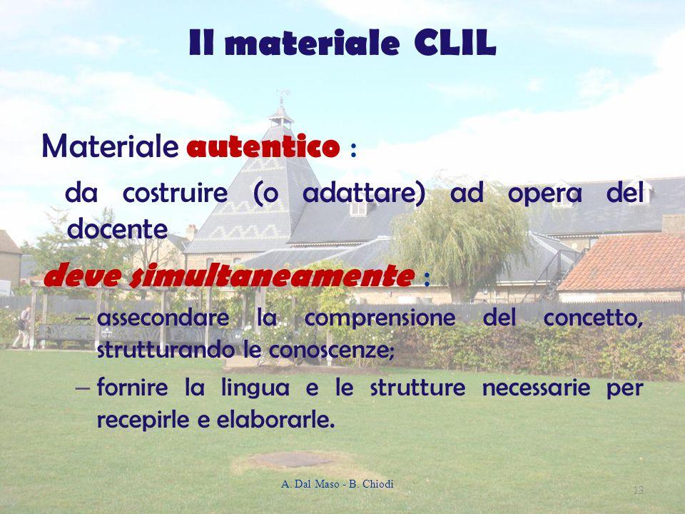 Il materiale CLIL Materiale autentico : deve simultaneamente :