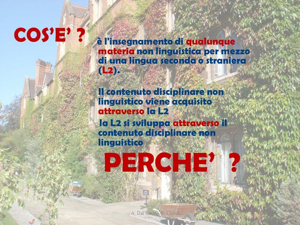 COS'E' è l insegnamento di qualunque materia non linguistica per mezzo di una lingua seconda o straniera (L2).
