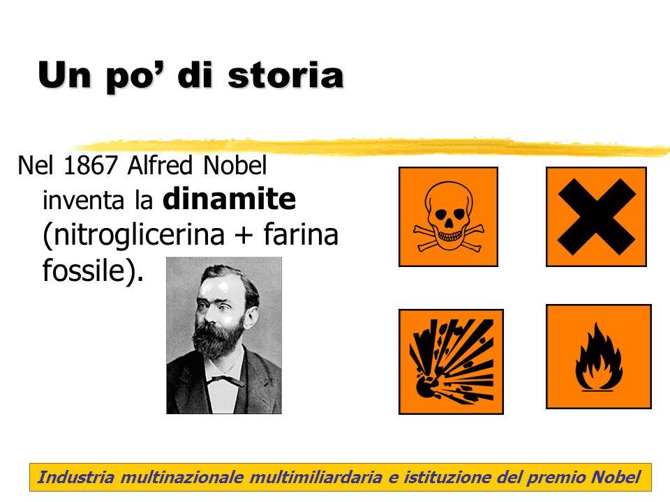 Un po' di storia Nel 1867 Alfred Nobel inventa la dinamite (nitroglicerina + farina fossile).