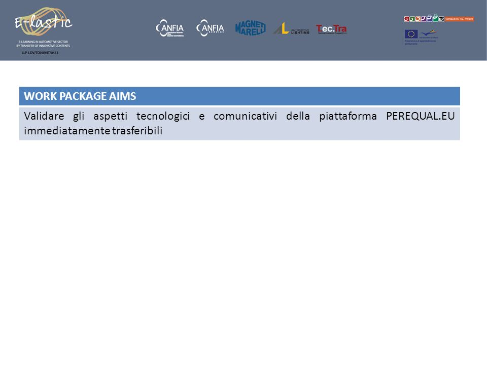 WORK PACKAGE AIMS Validare gli aspetti tecnologici e comunicativi della piattaforma PEREQUAL.EU immediatamente trasferibili.