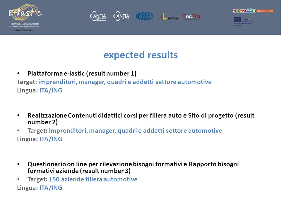 expected results Piattaforma e-lastic (result number 1)