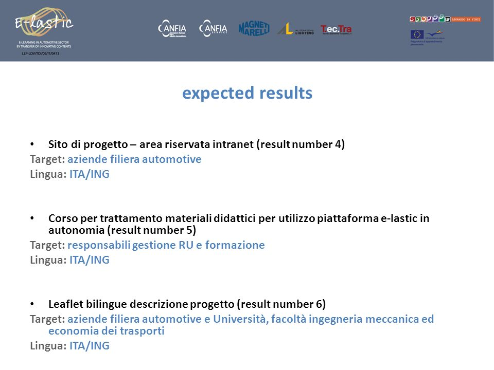 expected results Sito di progetto – area riservata intranet (result number 4) Target: aziende filiera automotive.