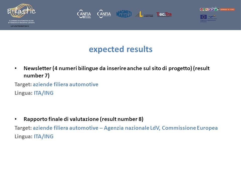 expected resultsNewsletter (4 numeri bilingue da inserire anche sul sito di progetto) (result number 7)
