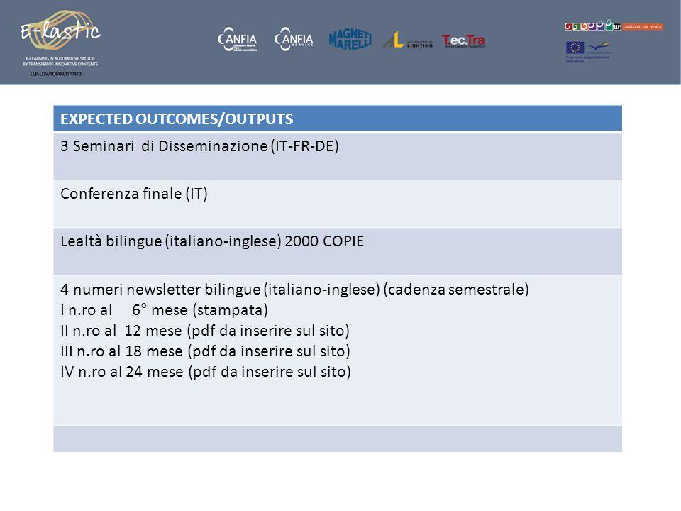 EXPECTED OUTCOMES/OUTPUTS 3 Seminari di Disseminazione (IT-FR-DE)