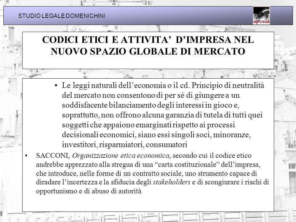 CODICI ETICI E ATTIVITA' D'IMPRESA NEL NUOVO SPAZIO GLOBALE DI MERCATO