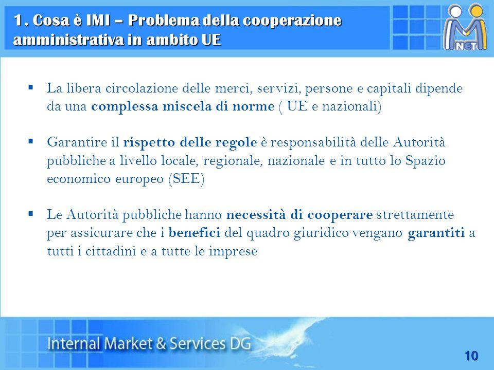 1. Cosa è IMI – Problema della cooperazione amministrativa in ambito UE