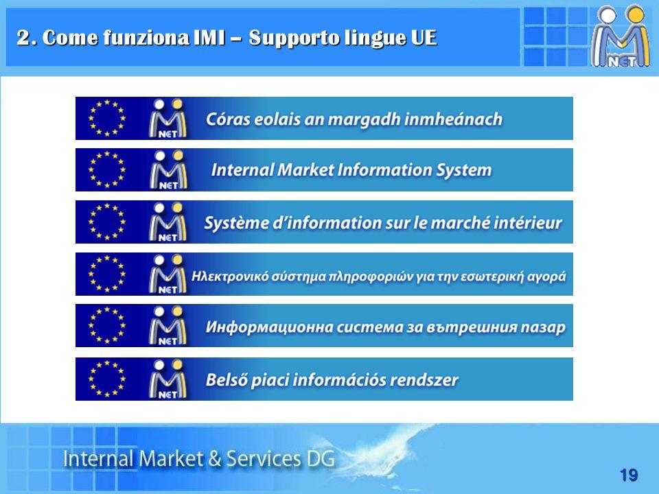 2. Come funziona IMI – Supporto lingue UE