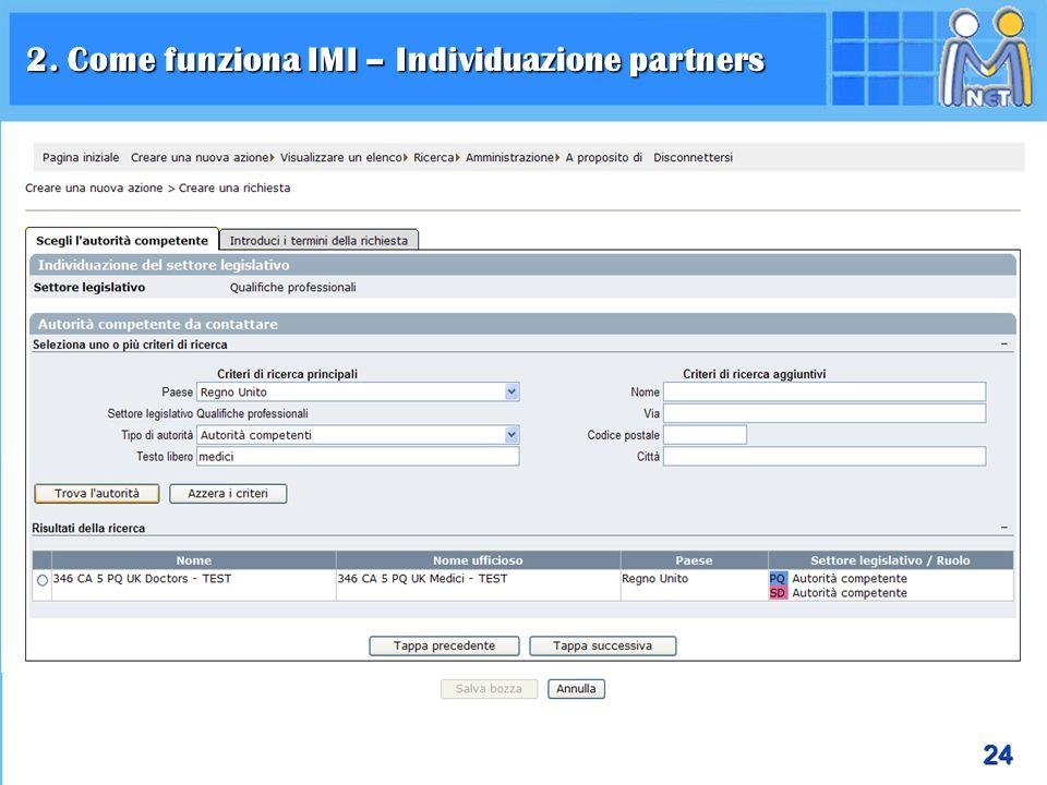 2. Come funziona IMI – Individuazione partners