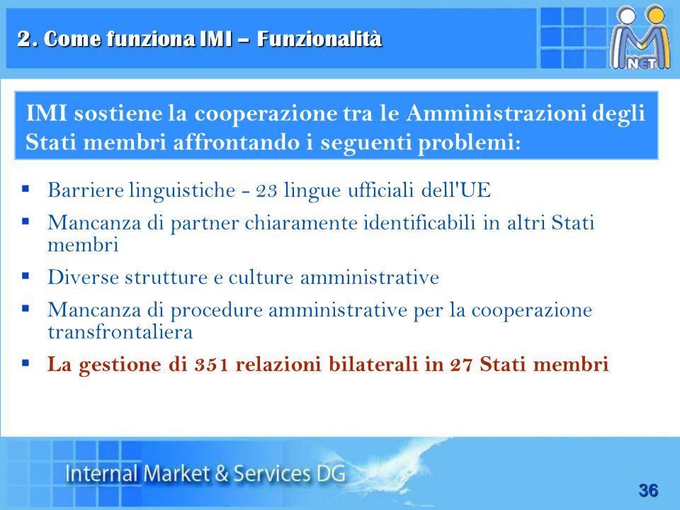 2. Come funziona IMI – Funzionalità