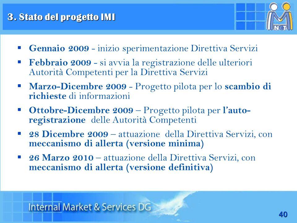 3. Stato del progetto IMI Gennaio 2009 - inizio sperimentazione Direttiva Servizi.
