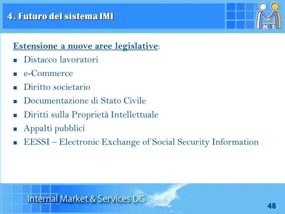 4. Futuro del sistema IMI Estensione a nuove aree legislative: Distacco lavoratori. e-Commerce. Diritto societario.