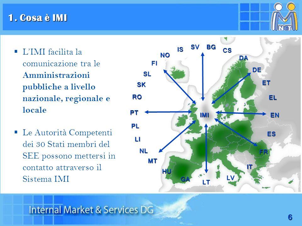 1. Cosa è IMI SV. BG. L'IMI facilita la comunicazione tra le Amministrazioni pubbliche a livello nazionale, regionale e locale.
