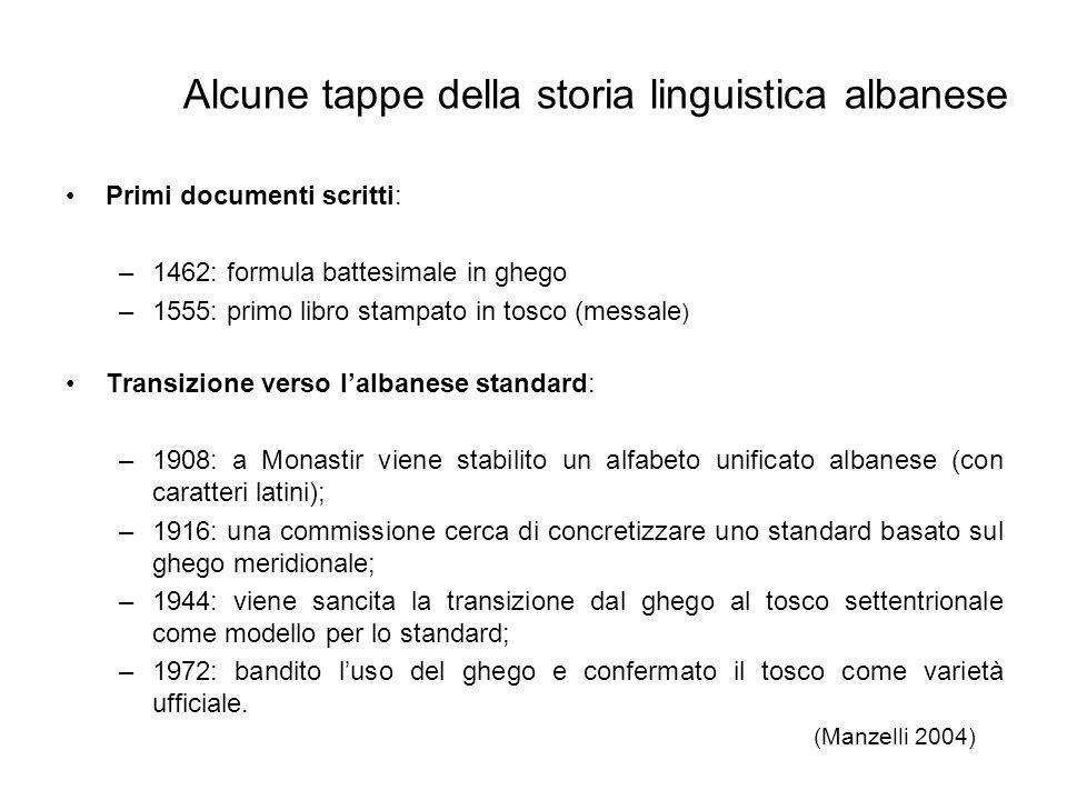 Alcune tappe della storia linguistica albanese