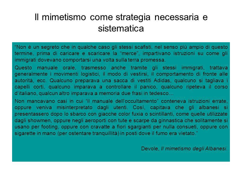 Il mimetismo come strategia necessaria e sistematica