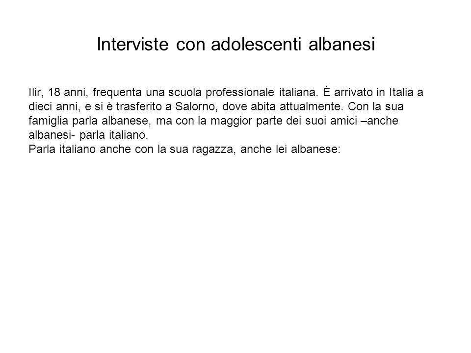Interviste con adolescenti albanesi