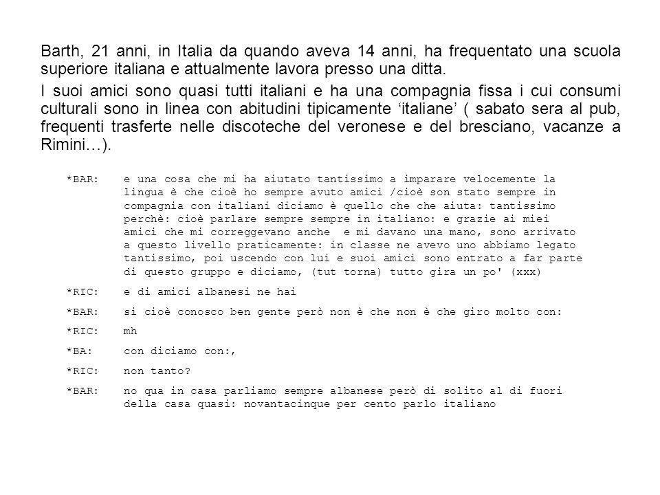 Barth, 21 anni, in Italia da quando aveva 14 anni, ha frequentato una scuola superiore italiana e attualmente lavora presso una ditta.
