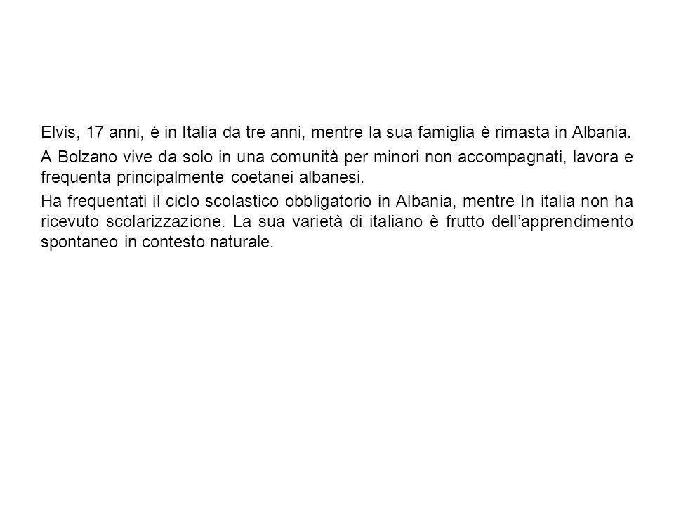 Elvis, 17 anni, è in Italia da tre anni, mentre la sua famiglia è rimasta in Albania.