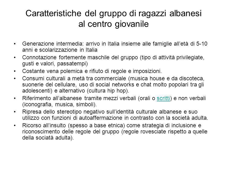Caratteristiche del gruppo di ragazzi albanesi al centro giovanile