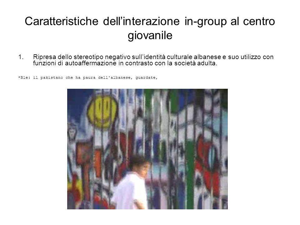 Caratteristiche dell'interazione in-group al centro giovanile