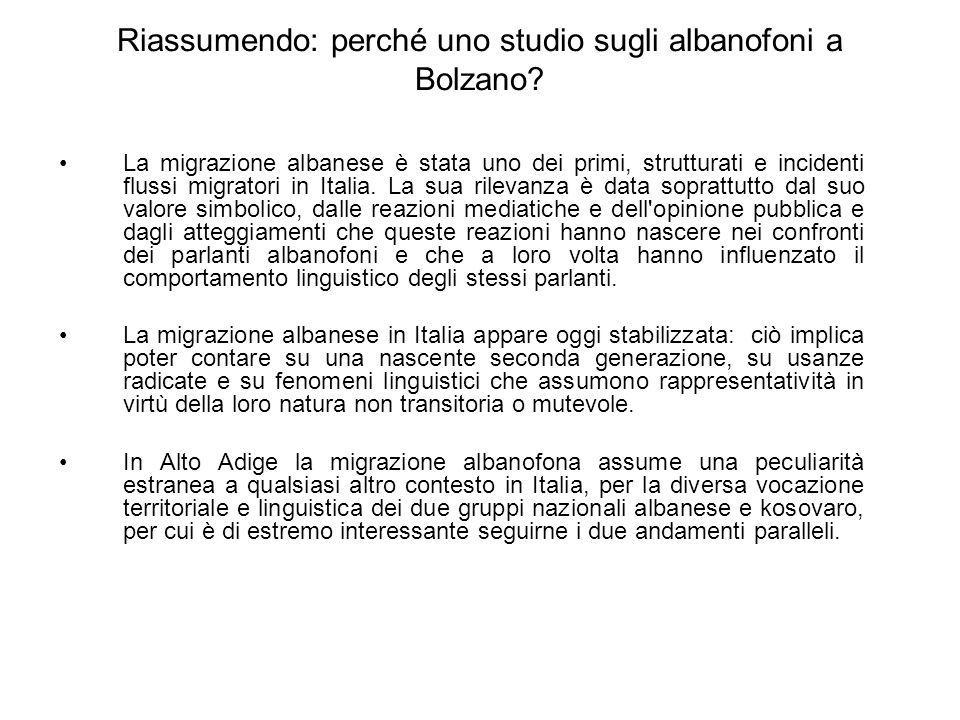 Riassumendo: perché uno studio sugli albanofoni a Bolzano