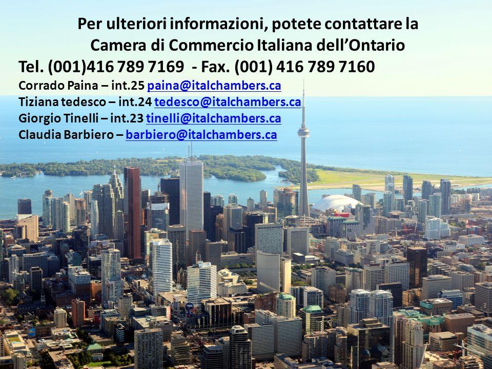 Greater Toronto Per ulteriori informazioni, potete contattare la