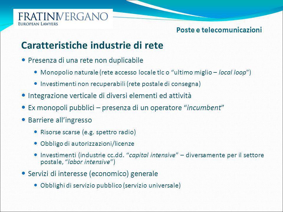 Caratteristiche industrie di rete