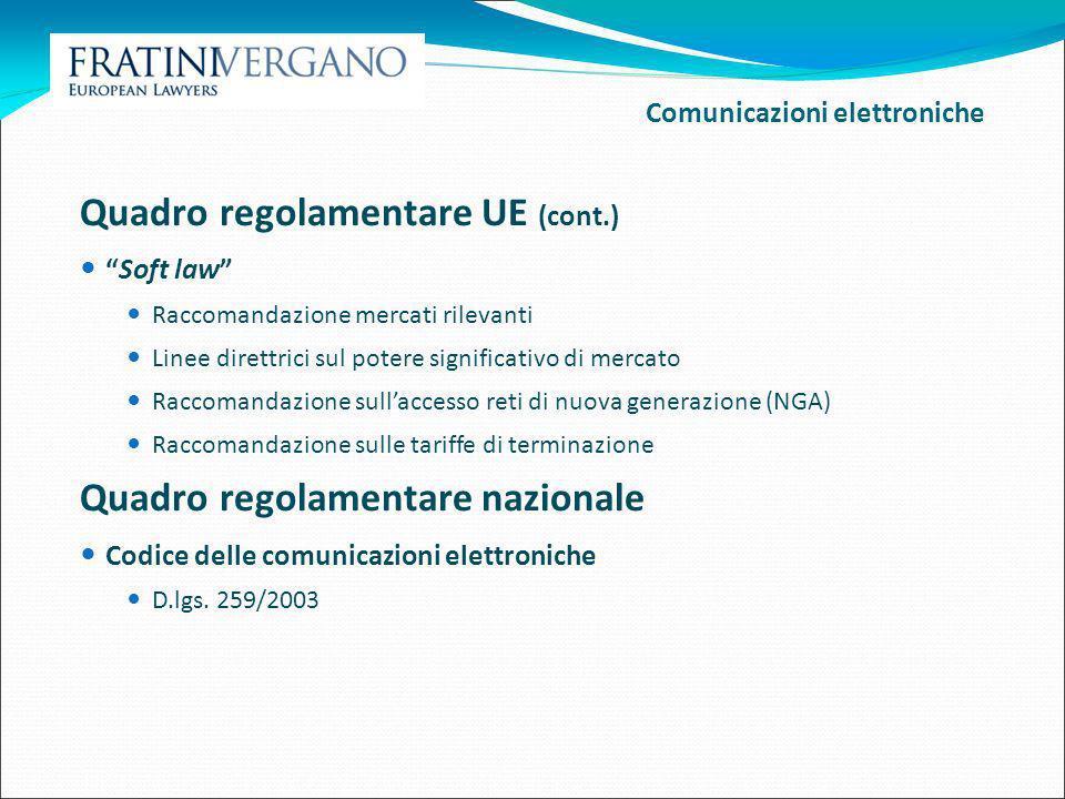 Quadro regolamentare UE (cont.)