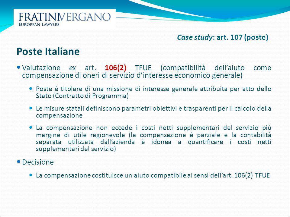 Poste Italiane Case study: art. 107 (poste)