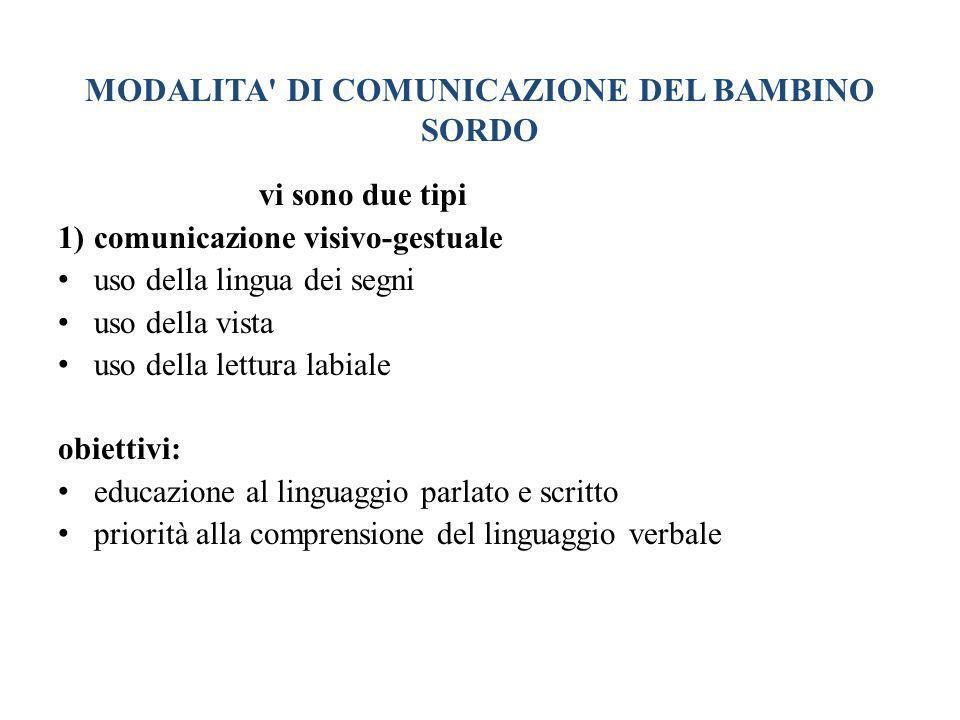 MODALITA DI COMUNICAZIONE DEL BAMBINO SORDO