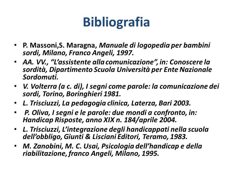 BibliografiaP. Massoni,S. Maragna, Manuale di logopedia per bambini sordi, Milano, Franco Angeli, 1997.