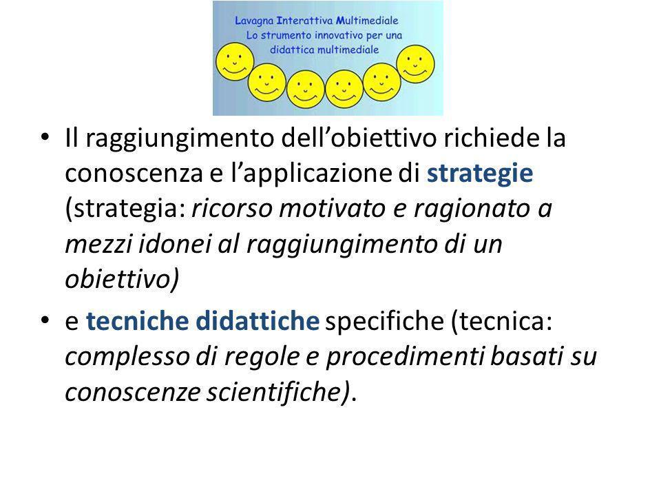 Il raggiungimento dell'obiettivo richiede la conoscenza e l'applicazione di strategie (strategia: ricorso motivato e ragionato a mezzi idonei al raggiungimento di un obiettivo)