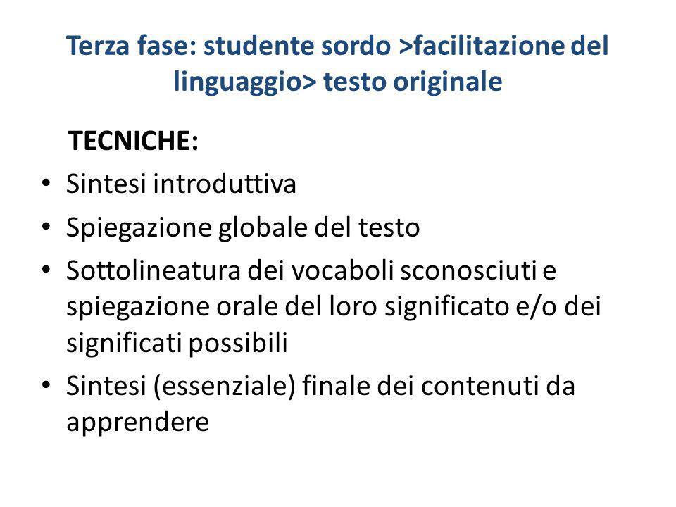 Terza fase: studente sordo >facilitazione del linguaggio> testo originale