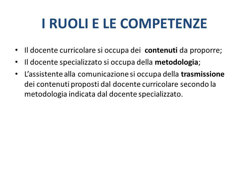 I RUOLI E LE COMPETENZE Il docente curricolare si occupa dei contenuti da proporre; Il docente specializzato si occupa della metodologia;