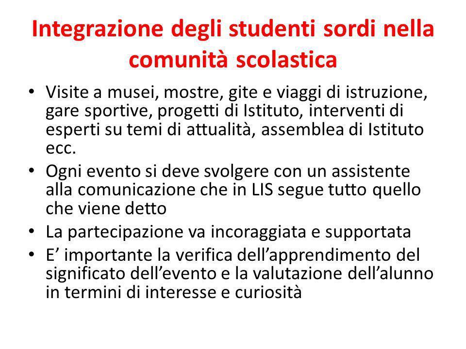 Integrazione degli studenti sordi nella comunità scolastica