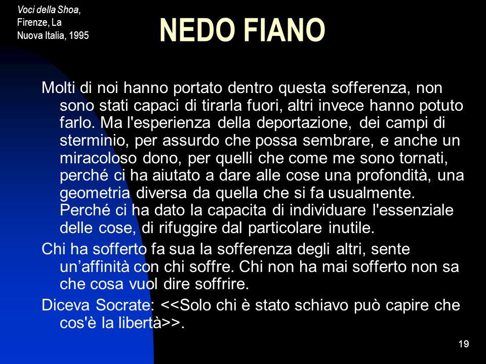Voci della Shoa, Firenze, La Nuova Italia, 1995