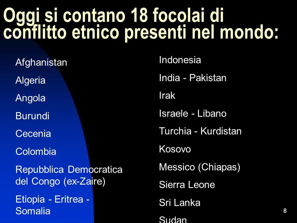 Oggi si contano 18 focolai di conflitto etnico presenti nel mondo: