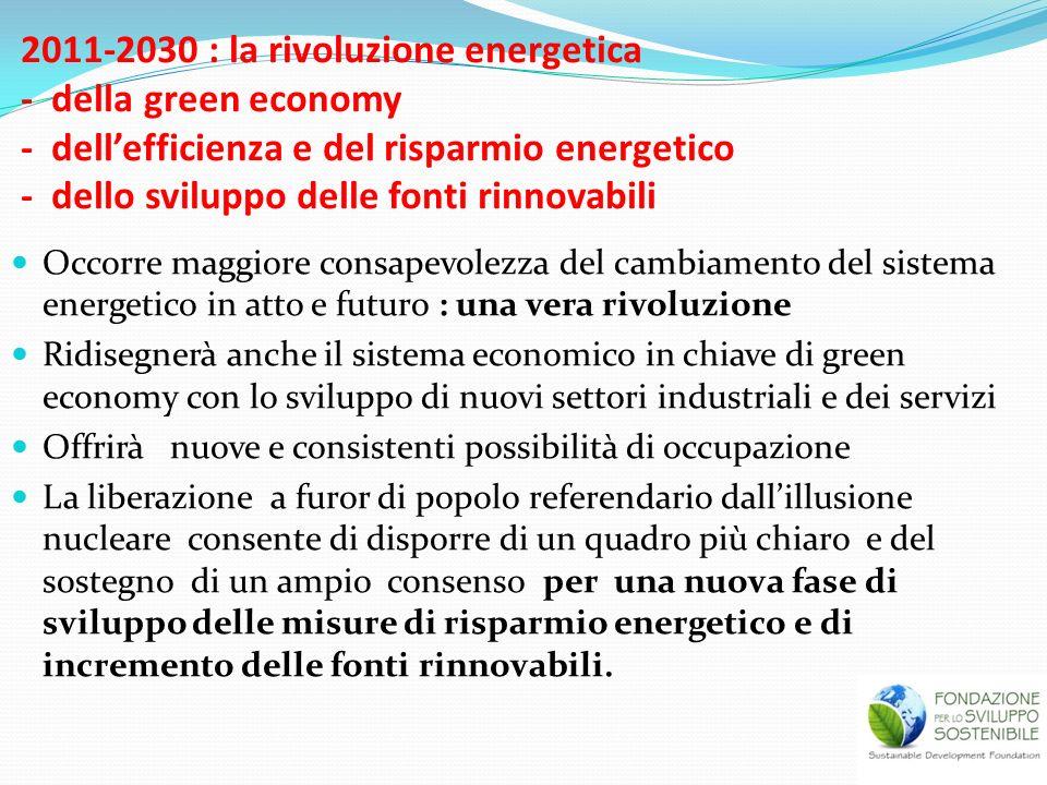 2011-2030 : la rivoluzione energetica - della green economy - dell'efficienza e del risparmio energetico - dello sviluppo delle fonti rinnovabili