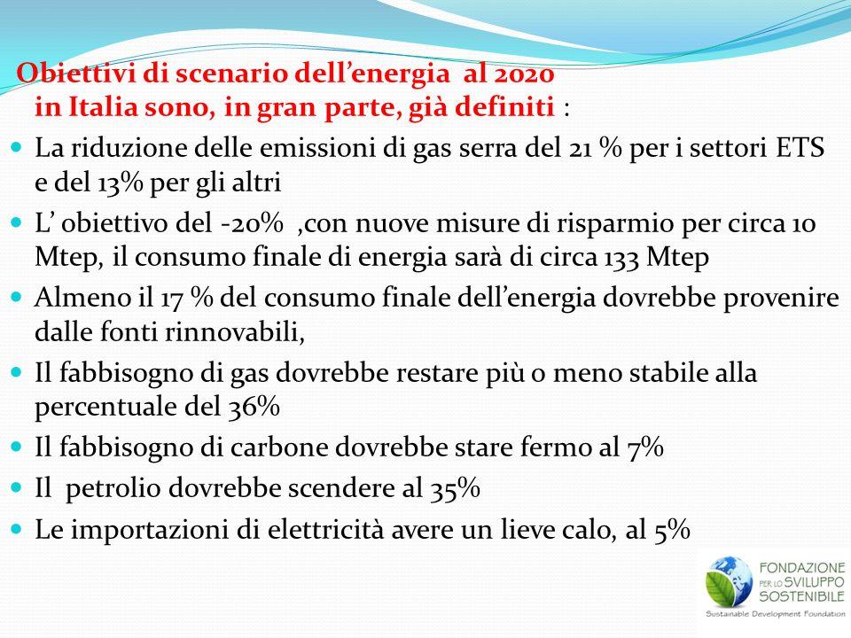 Obiettivi di scenario dell'energia al 2020 in Italia sono, in gran parte, già definiti :