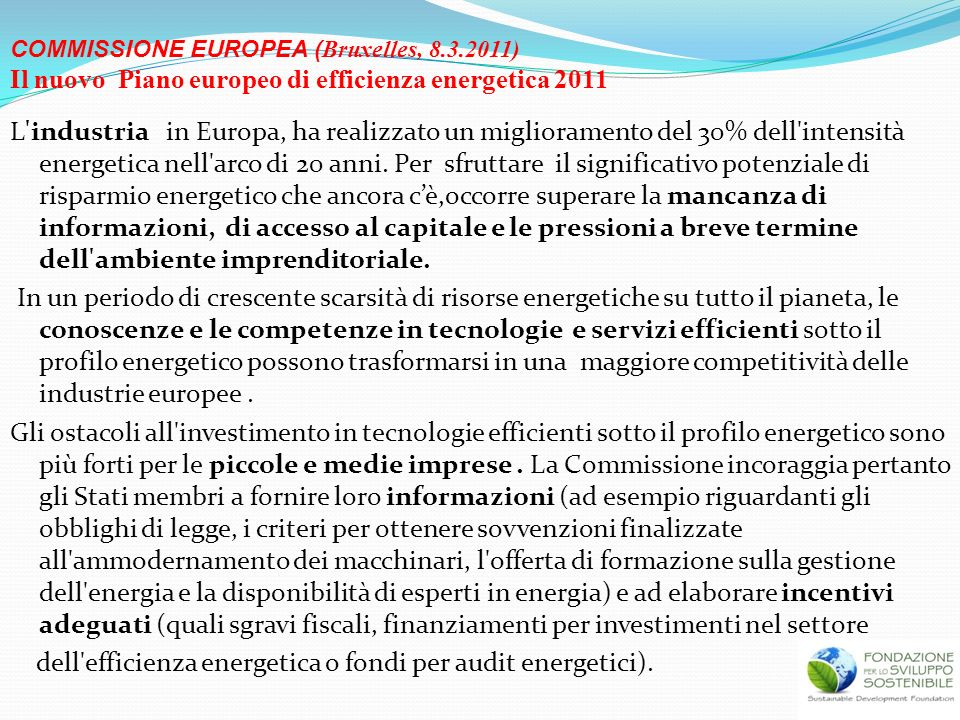 Il nuovo Piano europeo di efficienza energetica 2011