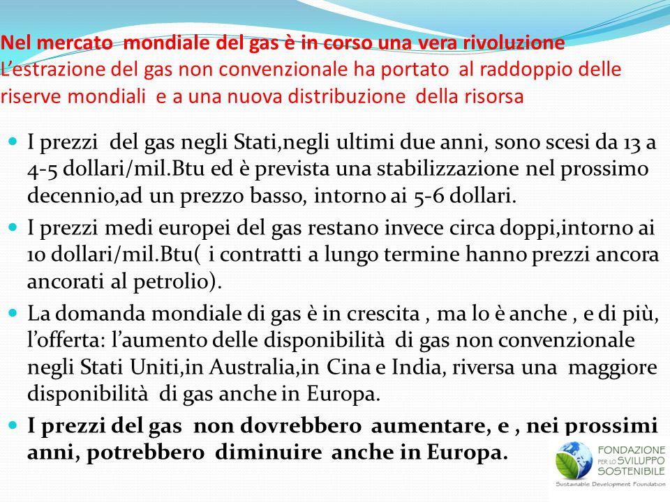 Nel mercato mondiale del gas è in corso una vera rivoluzione L'estrazione del gas non convenzionale ha portato al raddoppio delle riserve mondiali e a una nuova distribuzione della risorsa