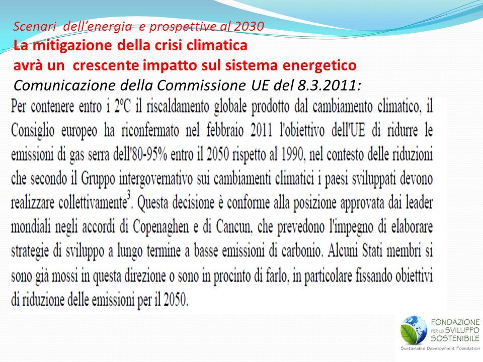 Scenari dell'energia e prospettive al 2030 La mitigazione della crisi climatica avrà un crescente impatto sul sistema energetico Comunicazione della Commissione UE del 8.3.2011:
