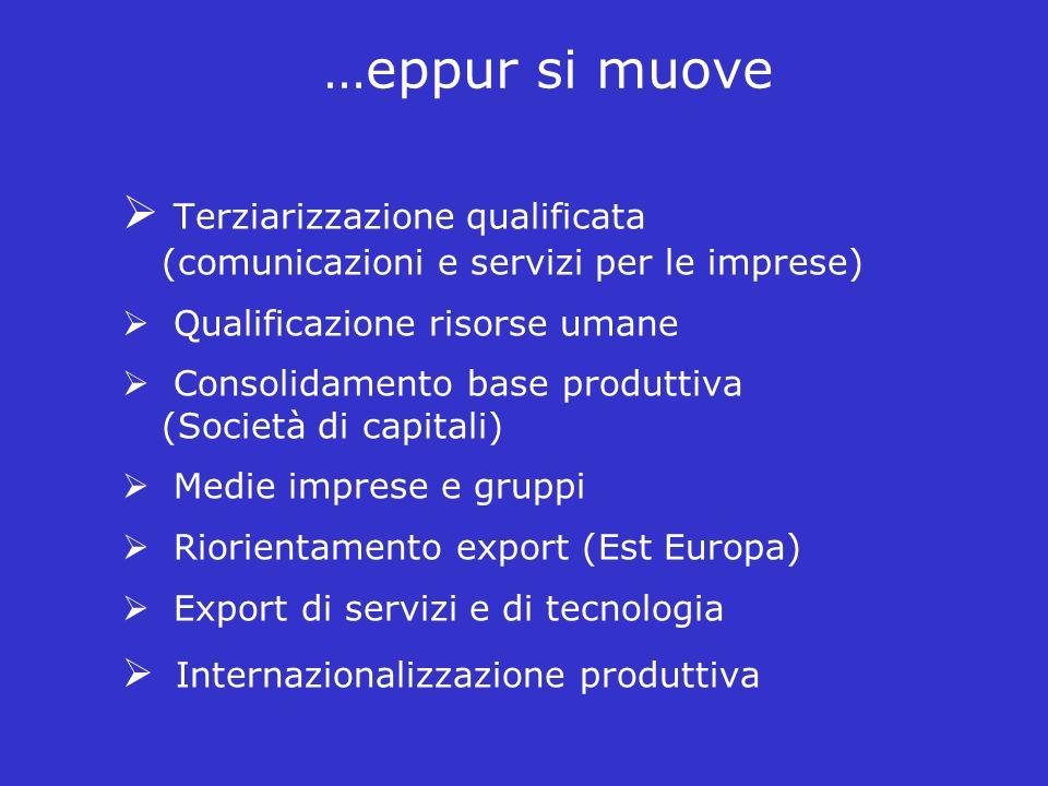…eppur si muove Terziarizzazione qualificata (comunicazioni e servizi per le imprese) Qualificazione risorse umane.
