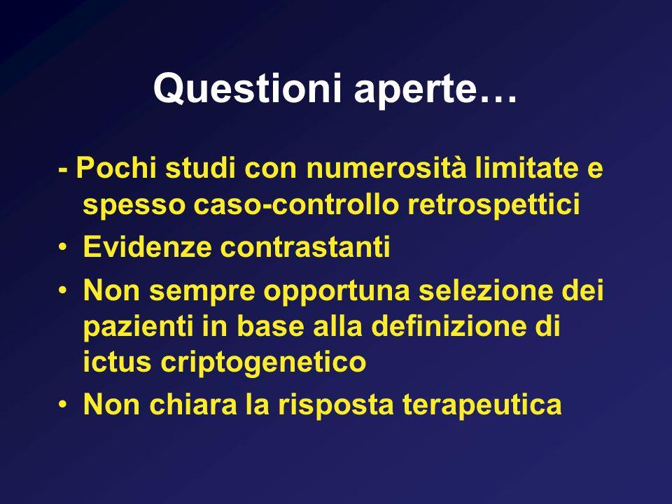 Questioni aperte… - Pochi studi con numerosità limitate e spesso caso-controllo retrospettici. Evidenze contrastanti.